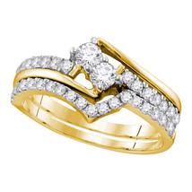 10k Yellow Gold Round 2-Stone Diamond Bridal Wedding Engagement Ring Band Set - $859.00