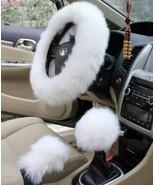Set 3 Pc Car Steering Wheel Cover Furry Plush Fluffy Universal Fur Wool ... - $29.69