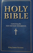 HOLY BIBLE King James Version Blue Paperback Leather Look Both Testament... - $8.99