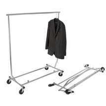 Chrome Steel Collapsible Clothes Rack with Wheels (48 in. W x 65 in. H) - $86.99