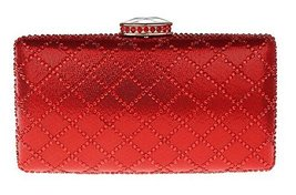 New Rhinestone Quilted Clutch Evening Bag Wedding Package 2--Red