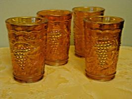 Carnival Glass Ice Tea Glasses Set of 4 Vintage Imperial Grape Pattern Marigold - $38.79