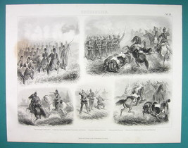 ARMY Austria Prussia Troops Combat Attack Dragons Lancers - 1870s Antiqu... - $16.20