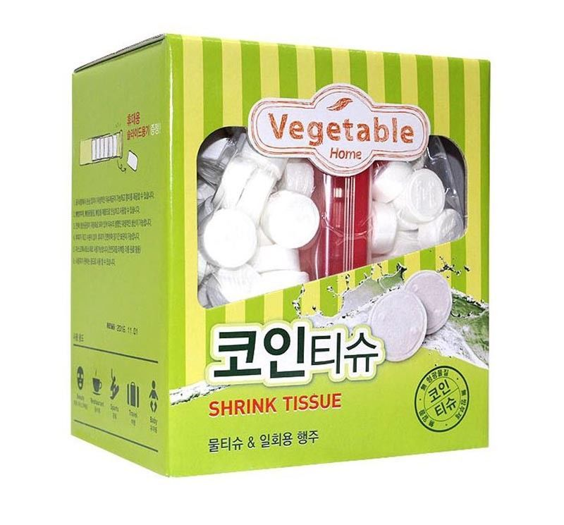 Vegetable Compressed Coin Tissue Multi-Purpose Wipes just Add Water Portable 300