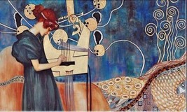 GUSTAV KLIMT HUGE Oil Painting on Canvas Classic art Wall decor Music 24... - $25.73