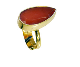 cute Red Onyx Gold Plated Red Ring genuine Designer US gift - $17.99