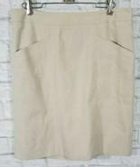 Ann Taylor Skirt 8 Womens Beige Knee Length Back Zipper Pockets Business... - $18.68