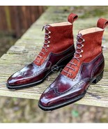 Men's Handmade Ox Blood Patina Leather Dress Custom Made Formal Boots - $179.99+