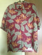Tommy Bahama 100% Silk Red Button Down Shirt Green, Orange Floral Patter... - $64.35