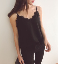 BLACK LACE Chiffon Top Summer Sleeveless Black Tops Wedding Bridesmaid Top Shirt