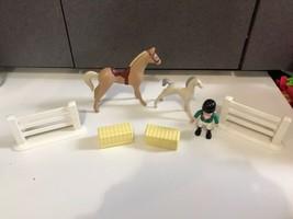 Vintage Little Tikes Jockey Horse Rider Figure Horses Fence HTF Hay bails - $49.45