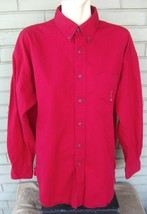 Ralph Lauren Chaps Heavy Red Cotton L/S Mens Button Logo Shirt Size Large - $17.00
