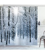 Ambesonne Winter Shower Curtain, Snow Covered Forest Idyllic Early Morni... - $40.99