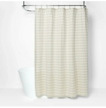 "Threshold Neutral Striped Fabric Shower Curtain 72"" X 72"" Tan White  - $19.13"
