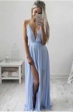 2018 v-neck evening dress blue chiffon long prom dress with high slit ,HH038