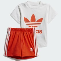 COMPLETO KID ADIDAS SHORT TEE SET DV2814  ORANGE - $50.18