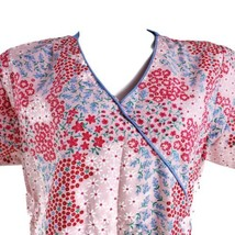 Dickies Floral Pink Red Blue Medium Scrub Top - $14.84