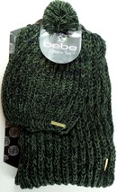 BEBE Women's Knit Logo Scarf & Pom Pom Hat Set w Gift Box Olive Green Bl... - $15.79