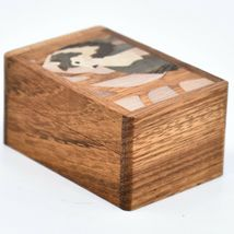 Northwoods Wooden Parquetry Country Rustic Standing Wolf Mini Trinket Box image 4