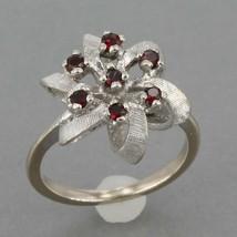 Vintage Solid 10K White Gold Garnet Flower Ring 3.3 Grams Size 4.5 - $124.99