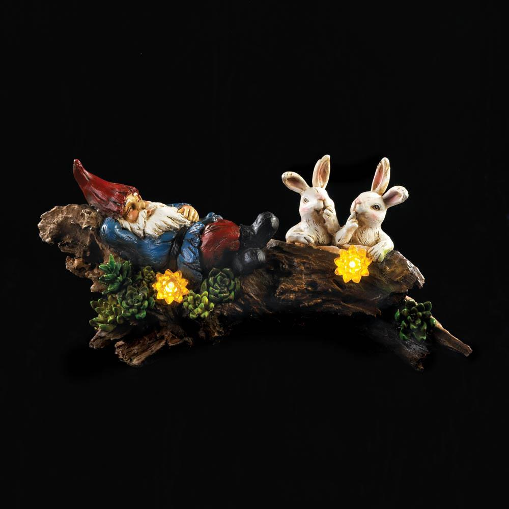 SLEEPING GNOME with Bunnies Solar Statue 15 Inches Long
