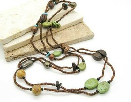 Boho Extra Long Brown Wood Green Turquoise Mixed Metal Bead Necklace S40 - $19.99
