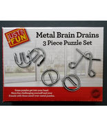 METAL BRAIN DRAINS PUZZLE Set of 3 Teaser Link Puzzles NEW - $10.99