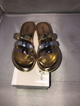 NEW-Michael-Kors-Keiko-Slide-Metallic-Rose-Gold-Sandals  Size 6 - $44.55