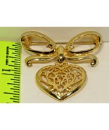 Vintage Gold Tone Heart and Ribbon Brooch Pin Collectable  - $9.49
