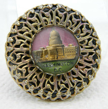 Vintage Gold Tone Filigree Washington DC Glass Dome Souvenir Pin Brooch - $39.60
