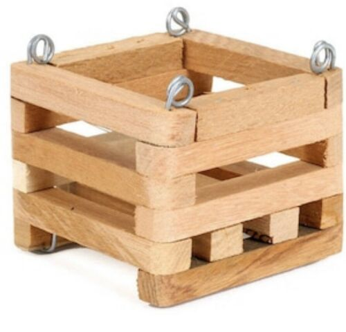 "BETTER-GRO 4"" Natural Hard Wood Hanging Orchid Vanda Square Basket"