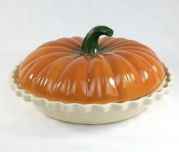 Vintage McCOY Ltd Pottery Ceramic Pumpkin Pie Dish Keeper with Lid - $79.18