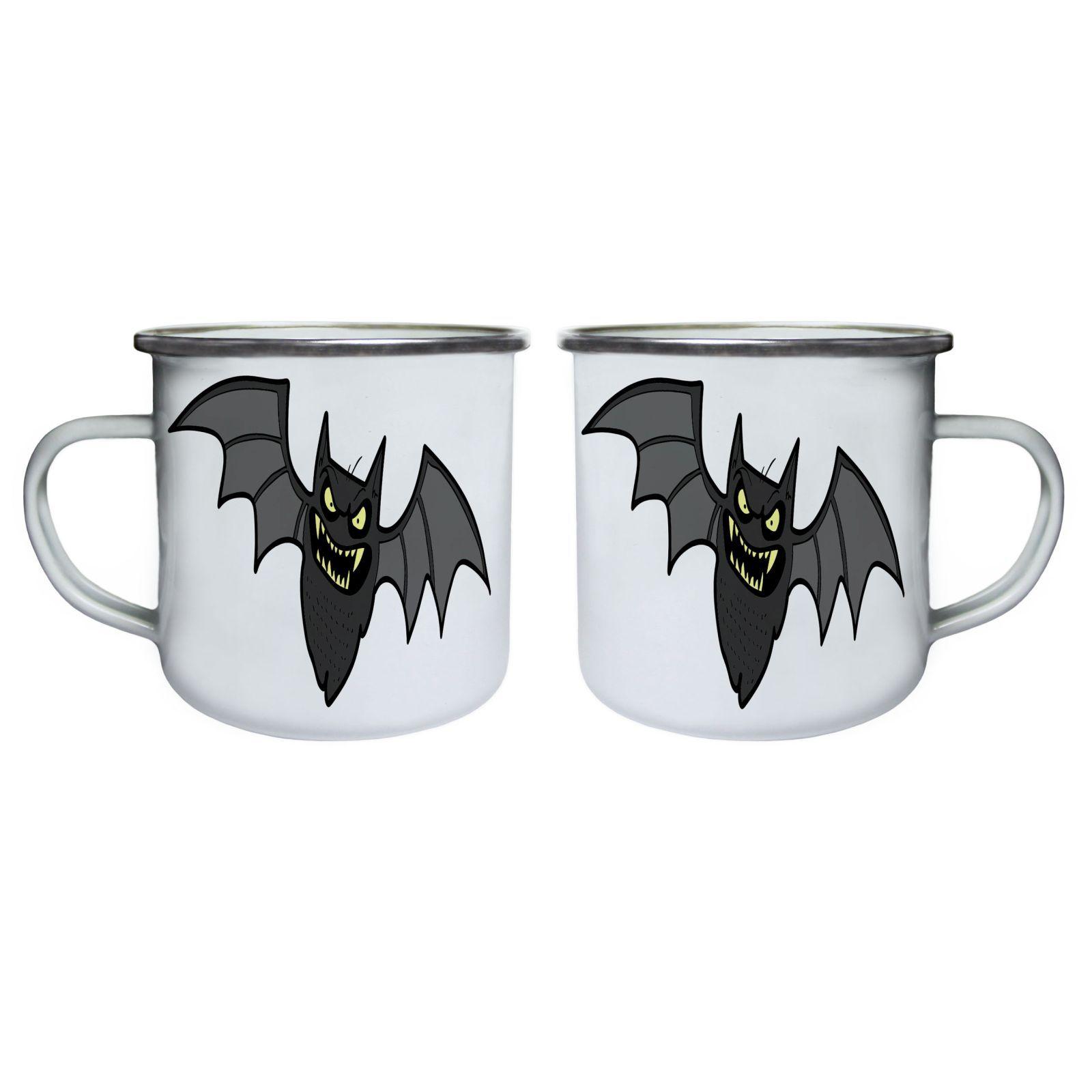 Halloween Scary Bat Retro,Tin, Enamel 10oz Mug q728e