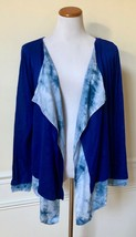NWT Fate Royal Blue Tie-Dye Open-Front Cardigan Sweater Draped Top Long Sleeve S - $16.99