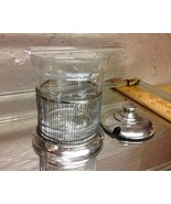 Glass Silverplate Mustard Condiment Container with Lid  and Ladel. Nice. - $22.20