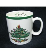 Spode Christmas Tree Coffee Mug S3324 White Porcelain Green Rim vtg - $7.91