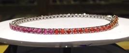3.00 Carat Rainbow Sapphire Bracelet in 925 Sterling Silver (WATCH VIDEO)