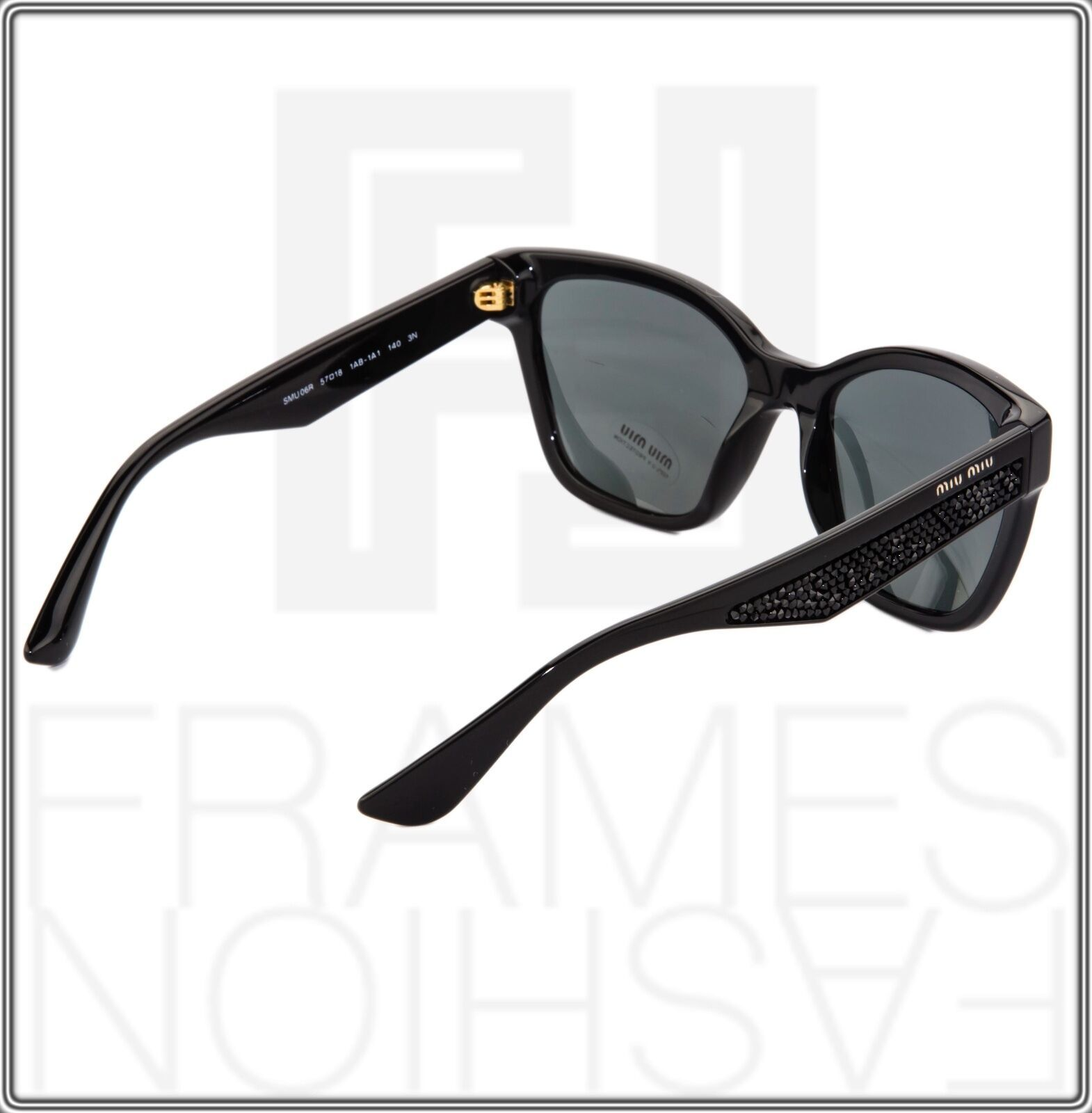 MIU MIU PAVE EVOLUTION MU 06R Square Black Rock 1AB-1A1 Sunglasses MU06RS Women image 6
