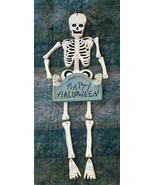 "Happy HALLOWEEN Hanging 24"" Wood Spooky Skeleton Dangling Legs Party Sig... - $29.68"