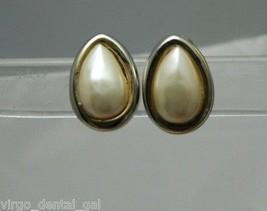 VTG Gold Tone Faux Pearl Teardrop Clip Screwback Earrings - $7.43
