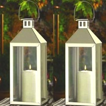 2 Large Silver Lantern Stainless Steel Tall Candle Holder Wedding Centerpieces - $39.45