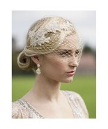 Metallic Gold French Netting Bandeau Bridal Veil with Champagne Lace App... - $61.48