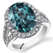 Women's Sterling Silver Oval Cut Alexandrite Halo Ring - $149.99