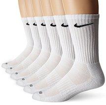 NIKE Unisex Dry Cushion Crew Training Socks (6 Pairs), White/Black, Medium - $34.48