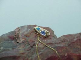 14K Black Opal Trillion Tanzanite & 2 Diamond Pendant Necklace Yellow Go... - $366.29