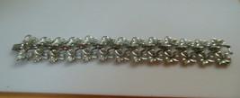 Vintage Signed Coro Silver-tone Linked Textured Leaf Bracelet  - $19.31
