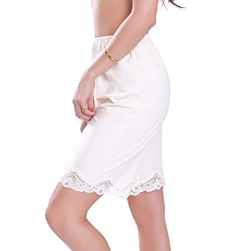 Cotton Blend Lace Long Slip Pettipant Shorts  Keeps Cool Under Dresses or Perfec