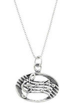 Sterling Silver Music Measure - Music Notes Charm With Box Chain Necklace - $21.49+