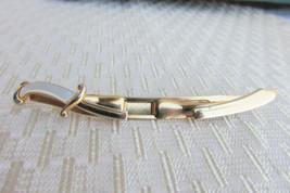 Vintage Swank Gold Tone Sword Scimitar Tie Clasp Clip Mother of Pearl Ha... - $17.33