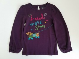 GapKids Girls Graphic Doggy Top Long Sleeved Embroidered Dark Purple Size 5 - $17.99